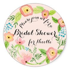 Rustic Blush Granny Chic Hipster Floral Bridal Classic Round Sticker - spring gifts beautiful diy spring time new year