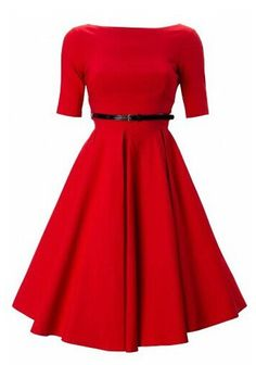 50s audrey hepburn pin up prom, evening, bridesmaid & cocktail red dress. $69.00