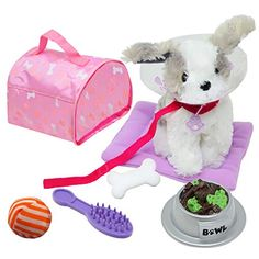 NEW YORK DOLL COLLECTION Plush Puppy Dog Accessories Play Set for 18 inch Dolls - Pet Accessory Set fits American Gir... 18 Inch Doll, Dog Accessories, Lol Dolls, Barbie Dolls, Dogs And Puppies, Gifts For Kids, Great Gifts, Puppy Carrier, Plush