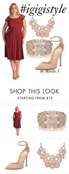 """IGIGI Tamara Dress in Burgandy styled by Myrda J plus size stylist"" by mjmonasterial on Polyvore featuring Oasis and Gianvito Rossi"