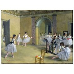 "Trademark Art ""The Dance Foyer, 1872"" by Edgar Degas Painting Print on  Wrapped Canvas Size: 35"" H x 47"" W x 2"" D"