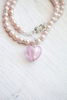Pale pink Freshwater Pearl Necklace with glass Heart accent
