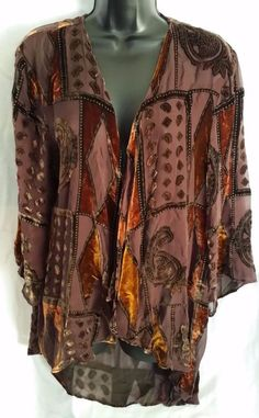 Handmade open front blouse Cocoa House sheer/velvet See measurments Medium? #CocoaHouseHandmade #openfrontblouse #Casual