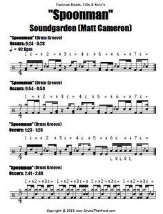 Drum Sheet Music, Drums Sheet, Drum Lessons, Music Lessons, Drum Notes, Learn Drums, Drum Patterns, Lyric Poem, Matt Cameron