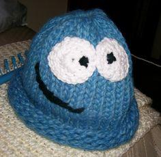 cookie monster hat loom knitting