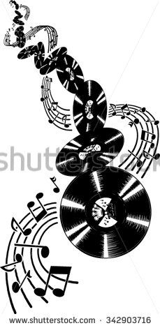 Black and white old-style tumbling vinyl records with music notes