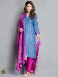 Buy Blue-Pink Block Printed Tussar Kurta by Jaypore Online at Jaypore.com
