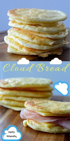 "Cloud Bread - Easy Low Carb Burger Buns, Essentially Carb Free - Cloud bread is a great substitute for bread on the ketogenic diet. The term ""cloud"" comes from -Keto Cloud Bread - Easy Low Carb Burger Buns, Essentially Carb Free - Cloud bread is a gre. Cloud Bread Keto, Keto Bread, No Carb Bread, Ketogenic Recipes, Low Carb Recipes, Diet Recipes, Bread Recipes, Muffin Recipes, Recipies"
