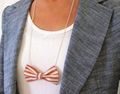 fabric bow tie necklace