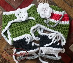 Baby Girls Minnesota Wild Green Red White Crocheted by Grandmabilt, $49.00