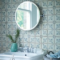 """Paris"" wall tiles from Fired Earth - smaller coverage for panel above sink not full wall Tile Inspiration, Classic Bathroom, Tiles, Wall And Floor Tiles, Paris Wall, Bathroom Design Inspiration, Fired Earth, Flooring, Loft Bathroom"