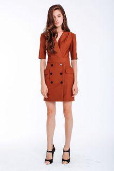 Kleid mit V-Ausschnitt, kurz, Farbe kupfer