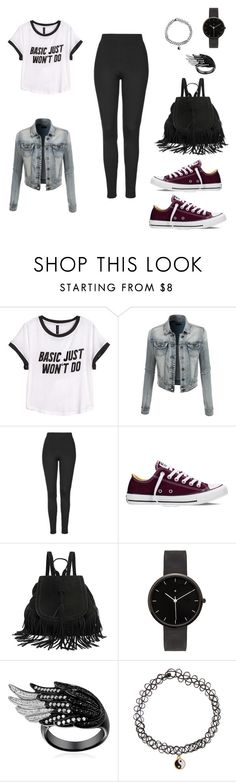 """""""Untitled #56"""" by juliro ❤ liked on Polyvore featuring H&M, LE3NO, Topshop, Converse, I Love Ugly and Monsoon"""