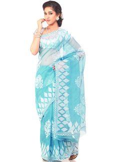Turquoise Embroidered Kota Saree