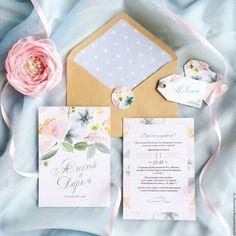 Купить Акварельные цветочные свадебные нежные приглашения Туманная пастель - мятная свадьба, летняя свадьба