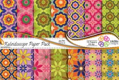 Floral Digital Paper Bright Colors Scrapbooking Paper Pack - Commercial Use ,Instant Download Kaleidoscope