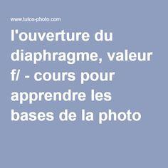 l'ouverture du diaphragme, valeur f/ - cours pour apprendre les bases de la photo