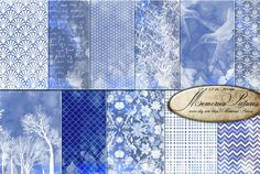 Blue Watercolor Digital Paper / Damask Floral  tree  Geometric Watercolor l Watercolor Background   Sheets 12x12   (D12 013) by MemoriesPictures on Etsy