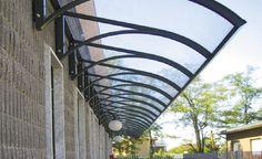 aluminium curved entrance canopy (polycarbonate cover) CARBO PIU - FLAT POLYPIU - PLAST