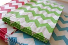 Cute GREEN stripe chevron pattern paper bag's petite size makes them perfect for small treats of loose candy or as a unique envelope for a note, gift tag or business card.