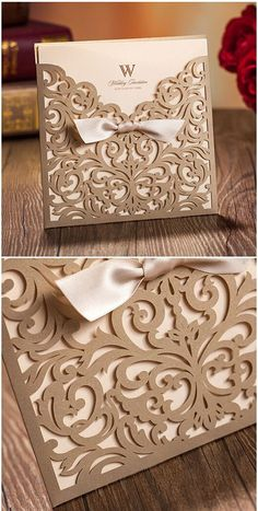 Vintage-inspired wedding invitations are definitely great for brides who want their weddings full of nostalgia. Here are 25 gorgeous vintage wedding invitations that will make all your guests swoon in anticipation of . Cricut Wedding Invitations, Gold Invitations, Vintage Wedding Invitations, Wedding Stationary, Invitation Fonts, Laser Cut Invitation, Invitation Ideas, Elegant Wedding Invitations, Wedding Favors