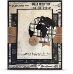 "Today's card offers some masculine ""man card"" fun. Whether it's for a birthday, or Father's Day, the Stampin Up Going Global stamp set combined with the World Traveler impressions folder is always a h"