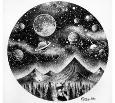 Drawing Doodles Sketches Great illustration by Space Drawings, Art Drawings, Arte Inspo, Stylo Art, Planet Drawing, Dotted Drawings, Moon Drawing, Circle Drawing, Tattoo Ideas