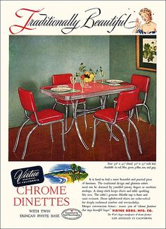 Traditionally beautiful, timelessly awesome Chrome Dinettes. #1950s.  I grew up eating dinner at a table like this, except ours was gray.