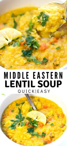Middle Eastern Lentil Soup Recipe – just a few basic ingredients to make this delicious, flavorful and nutritious soup. Great as a side soup or a light meal. Packed with Middle Eastern flavors, due to the combination of two very distinct spices – turmeric Lentil Soup Recipes, Easy Soup Recipes, Light Recipes, Veggie Recipes, Indian Food Recipes, Cooking Recipes, Healthy Recipes, Easy Lentil Soup, Vegetarian