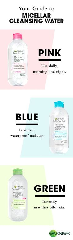 A definitive guide to Micellar Cleansing Water! Whether you're looking for an everyday cleanser, a simple way to remove waterproof makeup or an oil mattifying solution, there's a Garnier Micellar Water that's right for your skin. Every formula gently and effectively removes dirt, oil and makeup with no rinsing or harsh rubbing necessary. Find your favorite!