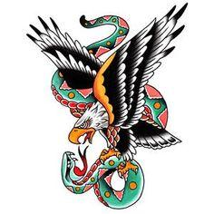 View All Temporary Tattoos by Tim Hendricks and Javier DeLuna – Toddler Tattoos Traditional Tattoo Eagle And Snake, Traditional Tattoo Old School, Traditional Tattoo Design, Traditional Artwork, Tattoo Flash Art, Tatoo Art, Body Art Tattoos, Sleeve Tattoos, Wing Tattoos