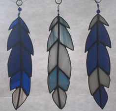 Stained Glass Feathers  Set of 3 by CustomStainedGlassNC on Etsy, $33.00
