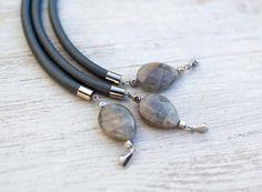 Labradorite on Gray Leather Cord Bracelet by pardes by pardes, $28.00
