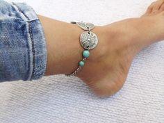 Bracelet de cheville argent turquoise ethnique bohème cheville Bijoux bohème chic : Chaines par melibijou