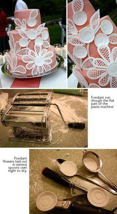 DIY floral fondant wedding cake