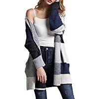 ae435ed5293 HZSONNE Women s Casual Boho Color Block Open Front Long Cardigan Chunky  Crochet Drape Knitted Sweater Blouse