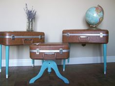 Suitcase side tables! now i know what to do with the vintage suitcases i have.