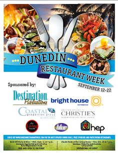 Dunedin Restaurant Week has begun! Sept 12-22 dine at participating restaurants and enter into a chance to win great prizes! Support the Dunedin community and The Ryan Wells Foundation. Check out www.DunedinRestaurantWeek.com for more details!