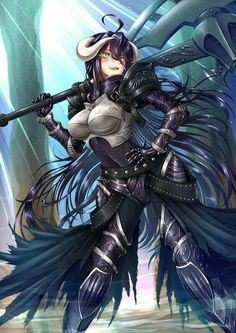 Fanart of the leader of the Guardians of the Great Tomb of Nazarik in her battle outfit Overlord series Albedo, Guardian Overseer Dark Fantasy, Fantasy Anime, Fantasy Girl, Otaku Anime, Art Anime, Albedo, Girls Anime, Manga Girl, Anime Guys