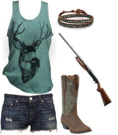 Country girl outfit :D really cute. I don't get the gun though, it doesn't make any sense. Why would u carry a fake gun around? But the outfits really cute