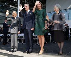 King Philippe, Queen Mathilde, Japan's Emperor Akihito, Empress Michiko.   12-10-2016