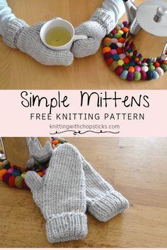 Simple Mittens | Knitting with Chopsticks | FREE Knitting Pattern