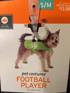 Football Player Pet Dog Costume s M with Stuff Football Player on His Back   eBay