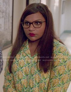 Mindy's pineapple print pajamas on The Mindy Project.  Outfit Details: http://wornontv.net/52190/ #TheMindyProject