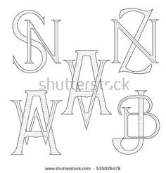 Set Elegant Monograms Two Letters Sn Stock Vector (Royalty Free) 535026478 Monogram Design, Monogram Logo, Monogram Letters, Logo Design, Ns Logo, Tattoo Feminina, Wedding Logos, Personal Branding, Logo Inspiration