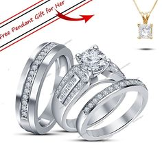 Diamond Trio Set His Hers Matching Engagement Ring Wedding Band 10K White Gold #aonedesigns