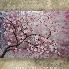 "CHERRY BLOSSOMS art sakura TREE art silver painting contemporary artwork on unstretched canvas by Ksavera 44""x64"" large wall art by KsaveraART #TrendingEtsy"