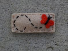 Mini Fluttering Red Butterfly Natural Wool Felt Hair Clip