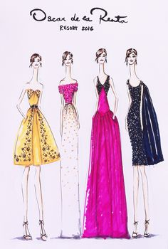 Oscar de la Renta Resort 2016       #oscardelarenta  #fashion #fashionillustration #illustration #resort