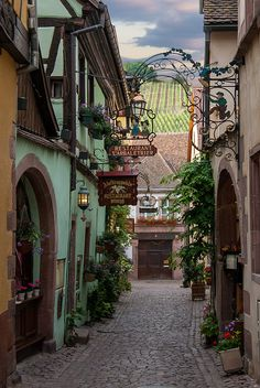 Riquewihr Side Street ~ Note the vineyards in the distance.  You are right in one of the most wonderful wine areas of France